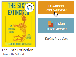Download option for a borrowed audiobook. See instructions above.