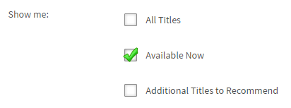 The Available Now option in the advanced search form