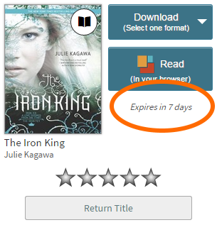 A title on the checkouts page showing how many days are left in the lending period