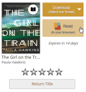 Screenshot of the Read button on your library Bookshelf