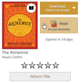 Screenshot showing the Read (in your browser) option from your library bookshelf