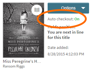Auto-checkout option for a title on hold. See instructions above.