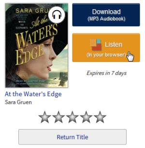 Screenshot of the Listen button on the library Bookshelf