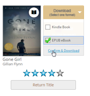 Download options for a borrowed eBook on your library Bookshelf