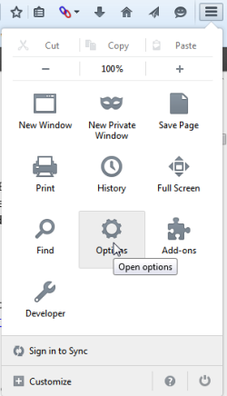 Windows-based Firefox with the menu open