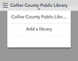Library drop-down menu in the OverDrive app. See instructions above