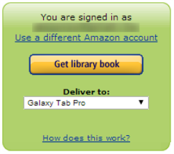 Get library book button and Deliver to drop-down menu on Amazon's website. See instructions above.