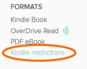 The Kindle restrictions link on a title's details page. See above.