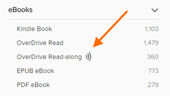 OverDrive read-along under the ebooks filter