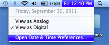 Screenshot showing the option to open the date and time preferences