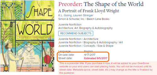 The on sale date and street date for a preorder title in Marketplace.