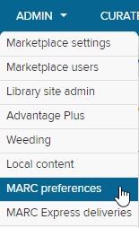 MARC records option under the Admin tab