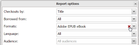The Report options box in Marketplace with the mouse hovering over a field that can be deleted.