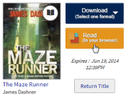 Screenshot of the Read button for a borrowed eBook