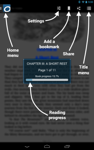 Diagram showing the reader menus