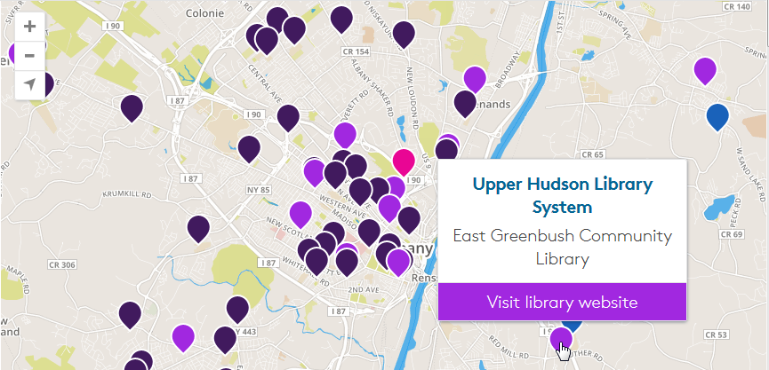 Library finder map with collection details. See instructions above.