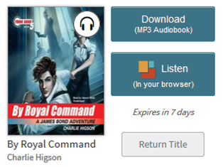 Screenshot showing an audiobook on a library Bookshelf with the OverDrive Listen option
