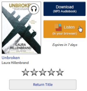Screenshot showing the Listen button on your library Bookshelf
