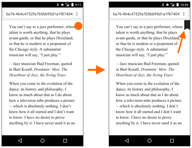 Screenshot showing how to add a bookmark on a mobile device. See instructions above.