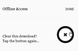 Screenshot of the X icon to remove the eBook from your cache