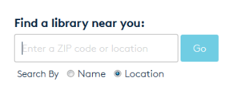 Library finder search bar. See instructions above