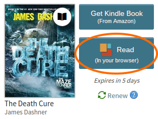 Read button for a borrowed eBook. See instructions above