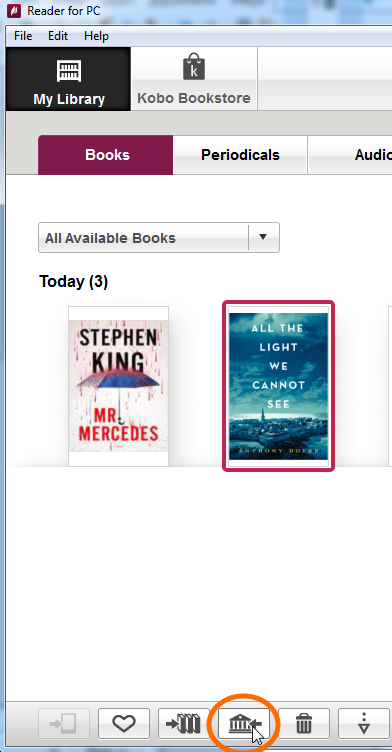 Screenshot showing the Return selected borrowed books button in Reader for PC/Mac.