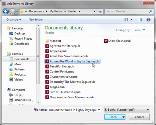 Add Items to Library window. See instructions above