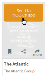 The send to NOOK app button for a periodical