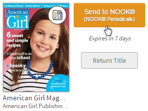 Screenshot of the Send to NOOK button for a periodical