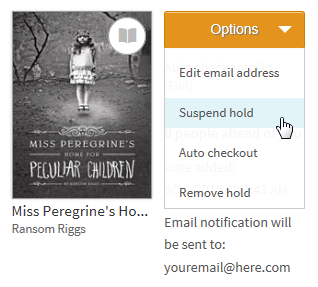 Screenshot of the options drop-down menu for a title on hold
