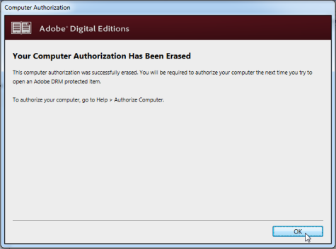 Screenshot showing the pop-up window confirming that your computer has been deauthorized