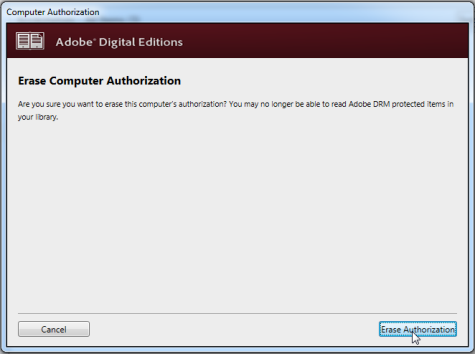 Screenshot showing the Erase Authorization button in ADE