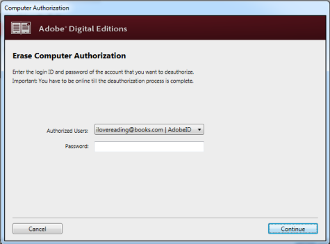 Screenshot of ADE with prompts to log in before you can remove your authorization