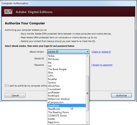 The computer authorization window in ADE