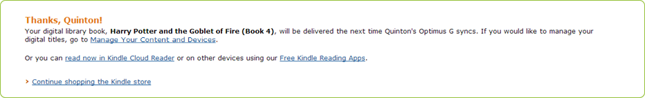 Amazon's Kindle Book delivery confirmation page