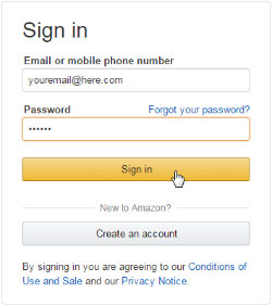 Amazon's sign in screen. See instructions above.