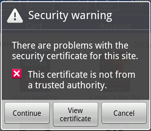 Screenshot of the security warning.