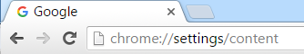 The Google Chrome addres bar pointing to the Chrome settings screen.