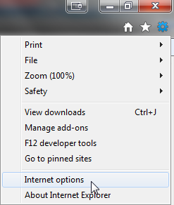 The settings menu open in Internet Explorer.