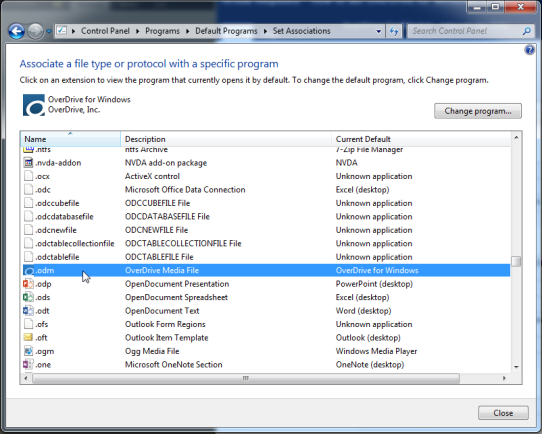 Set Associations dialog. See instructions above