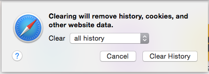 Clear browser data pop-up window. See instructions above