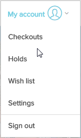 My account menu with Checkouts page option