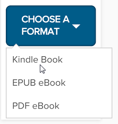 Choose a format menu expanded to show Kindle Book option