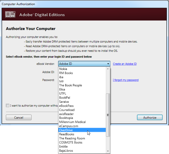 Screenshot of the computer authorization window in ADE
