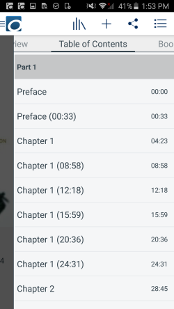 Title menu in an audiobook. See instructions above.