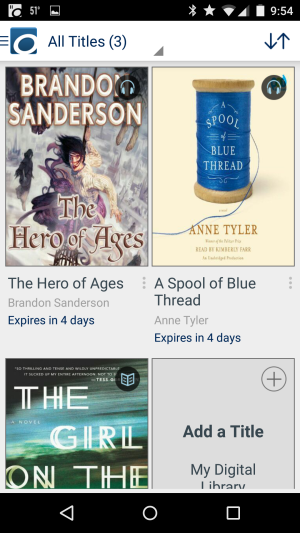 Screenshot of the app bookshelf