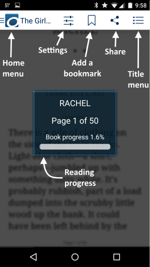 Screenshot showing the eBook reader options