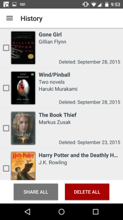 The title history list in OverDrive for Android.