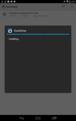 Screenshot showing the app installing